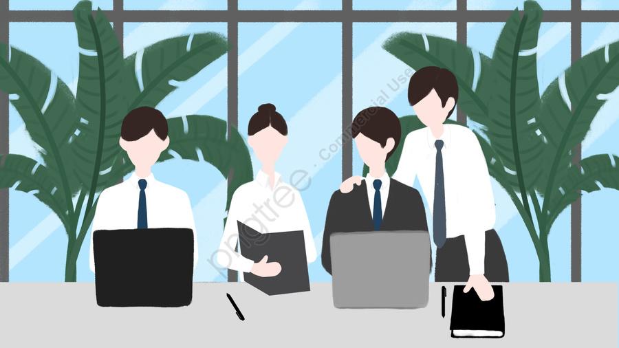 Equipe De Escritório De Negócios Cooperação Colarinho Branco, Janela Do Chão Ao Teto, Computador, Green Plant llustration image