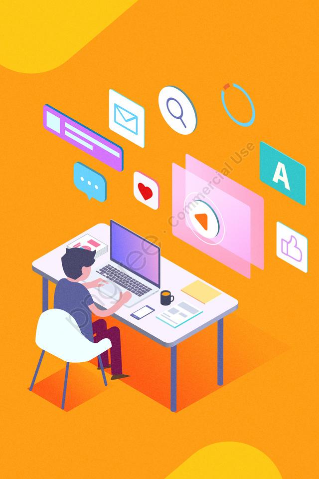 व्यापार कार्यालय प्रौद्योगिकी भविष्य की कल्पना, 2 5d, व्यापार कार्यालय, प्रौद्योगिकी llustration image