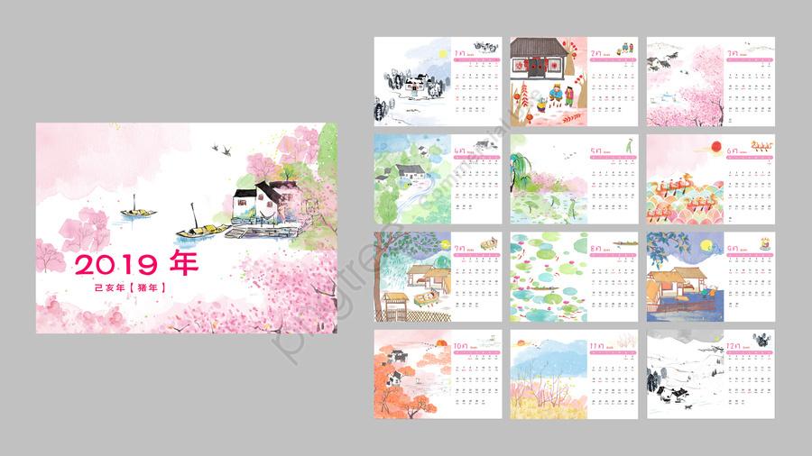 カレンダーデスクカレンダーカレンダーインク, 古代, 明色, 手塗り llustration image