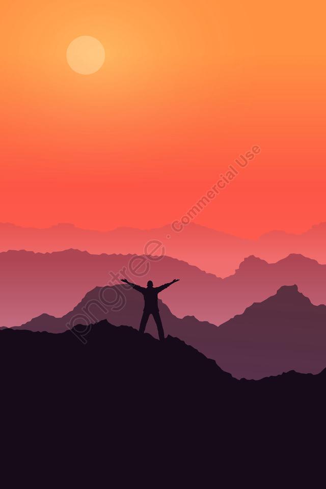 高山の空の夕日を呼び出す, 生命, 山, 呼び出し llustration image