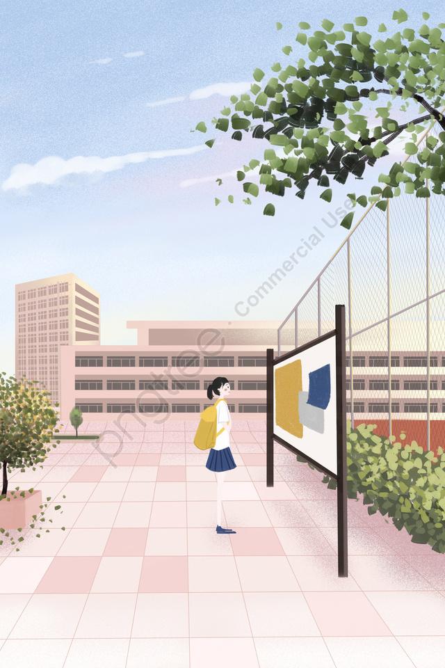 キャンパススクール遊び場図, ガール, 建物, 植物 llustration image