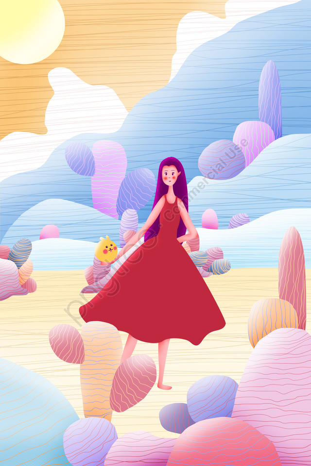 candy colors literary simple ad, Vitality, Girl, Cartoon llustration image