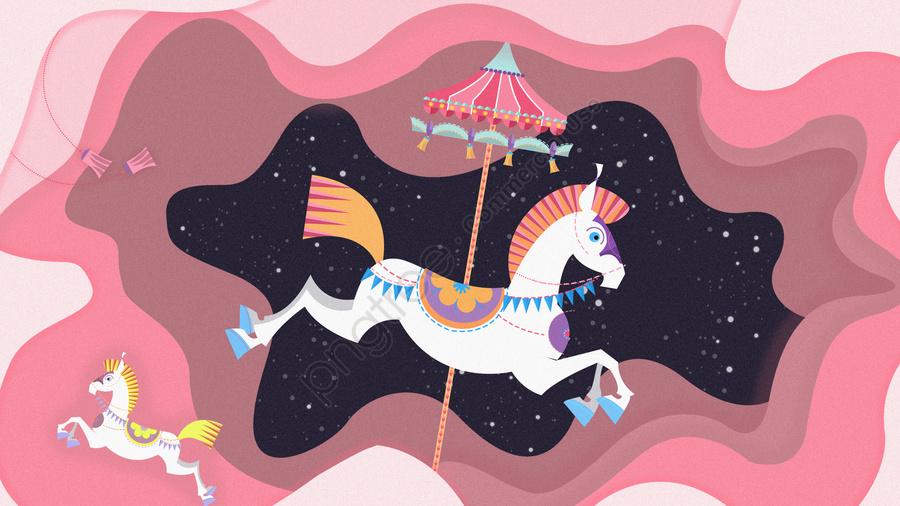 カードホリデー遊園地カルーセル, 遊び場, 遊び, 余暇 llustration image