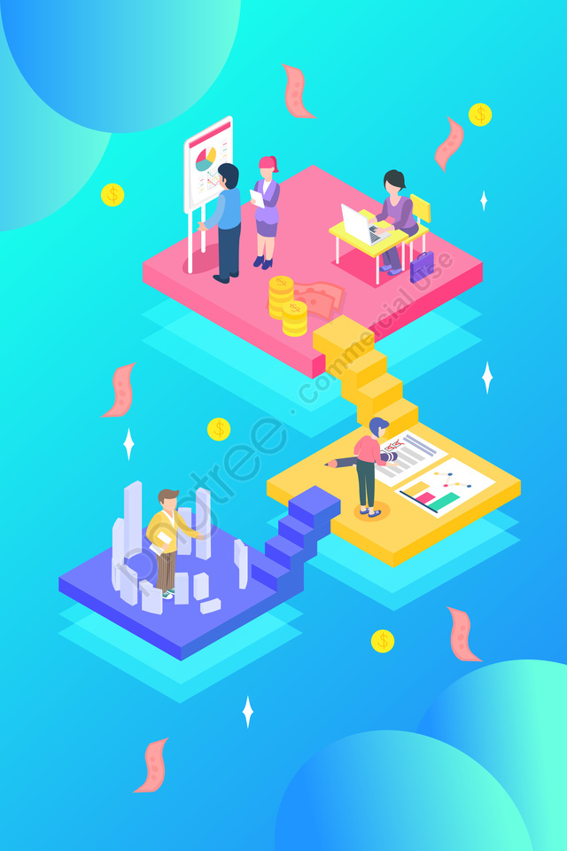 cartoon 2 5d isometric business, Office, Financial, Concept llustration image