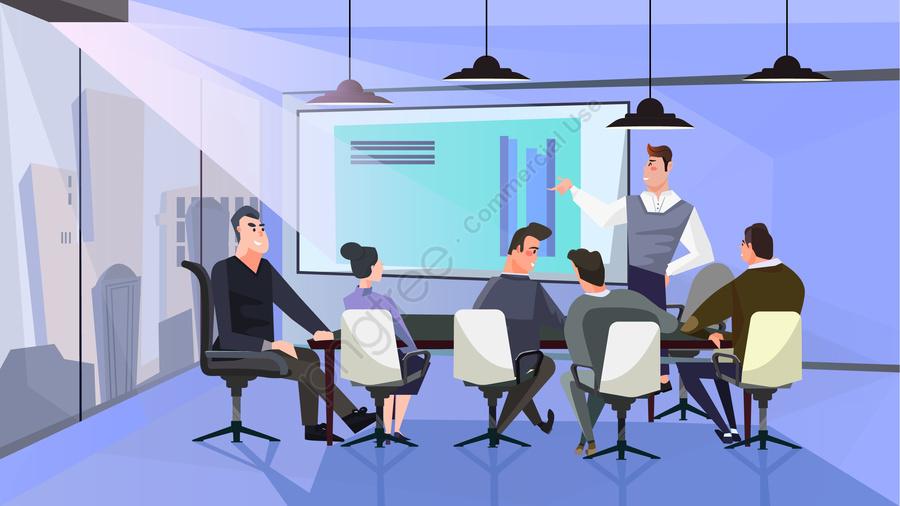 漫画ビジネス会議, スピーチ, オフィス, 職場 llustration image