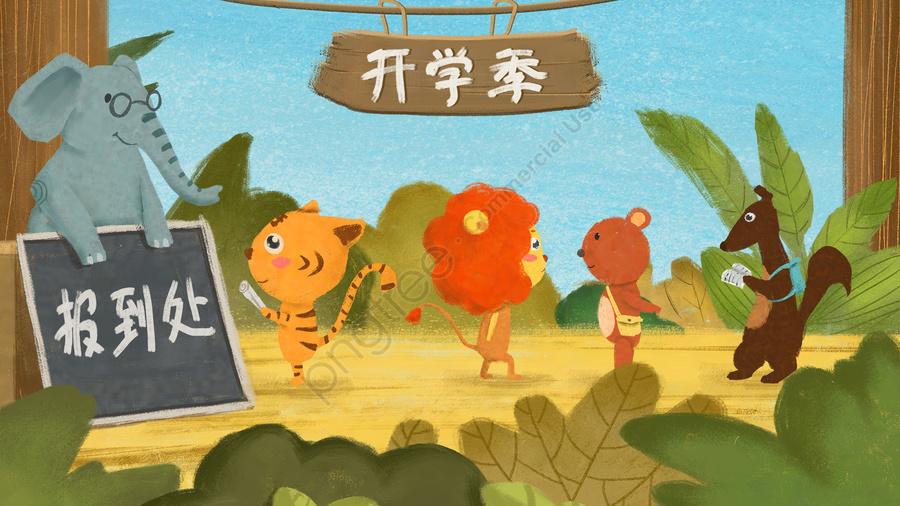 Sistema Da Planta Da Floresta Da Criança Dos Desenhos Animados, Animais De Pequeno Porte, Escola Estação, Abra A Revista Para llustration image