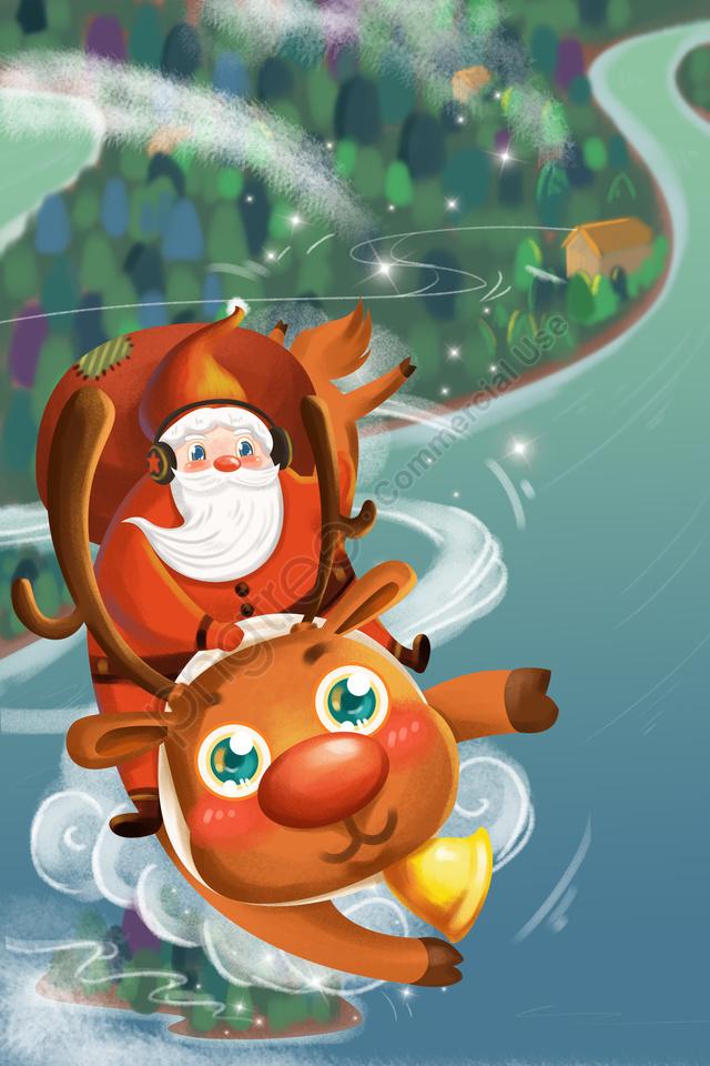الكرتون عيد الميلاد عيد الميلاد سانتا كلوز, الرنة, يطير, هدية llustration image