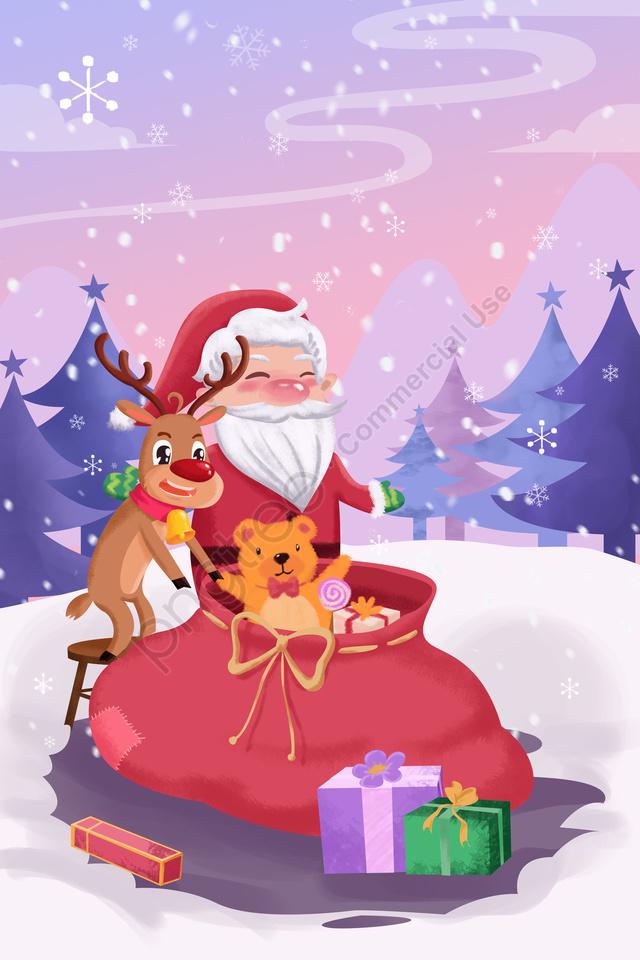 Desenhos Animados Natal Natal Papai Noel Rena Voar Dom