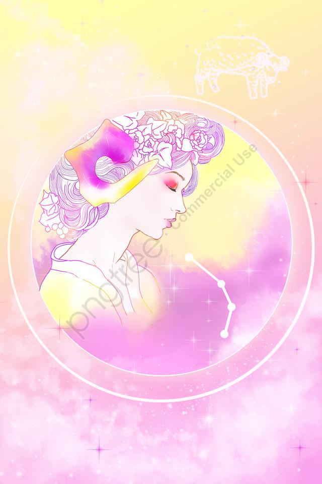 Cartoon Hand Painted Twelve Constellations Beauty, Avatar, Illustration, Astrology llustration image