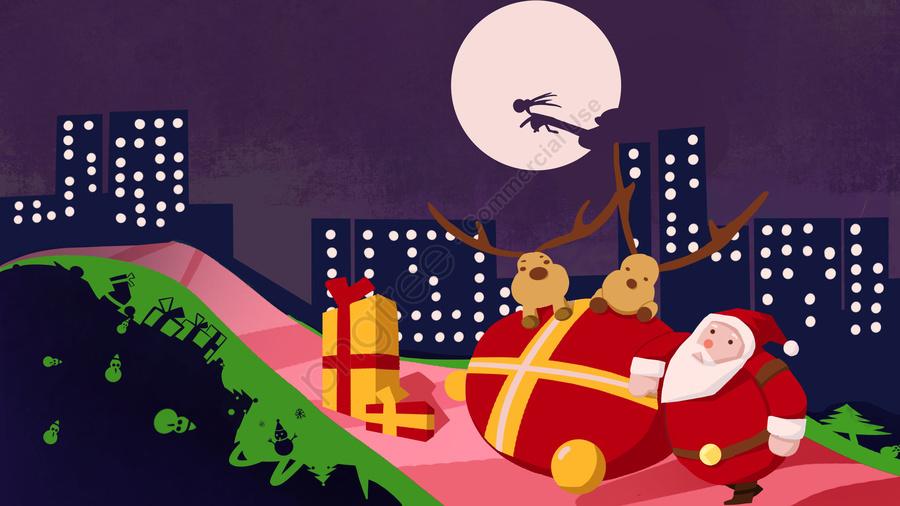 رسم كاريكتوري، تصوير، عيد ميِد، Claus Santa, ليلة عيد الميلاد, الك, هدية llustration image