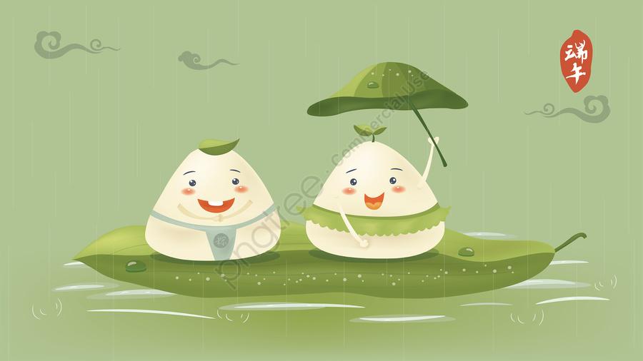 cartoon q version of the dice xiangyun dragon boat festival illustration scorpion image, 坐在粽葉上的卡通粽子插圖, 卡通q版粽子, 祥雲 llustration image