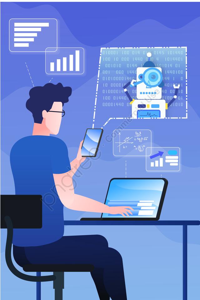 कार्टून रोबोट कृत्रिम बुद्धिमत्ता डेटा, के लिए खोज, प्रौद्योगिकी अवधारणा, चित्रण llustration image