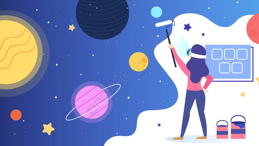 कार्टून वी आर  आभासी वास्तविकता ब्रह्मांड, बाह्य अंतरिक्ष, प्रौद्योगिकी, अवधारणा llustration image