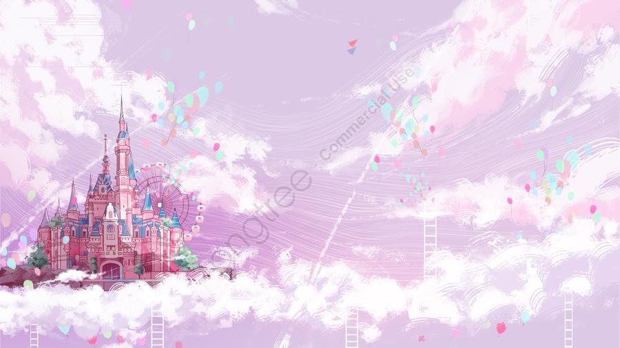 성 풍선 따뜻한 색상 십 대 색상, 핑크, 하늘, 놀이터 llustration image