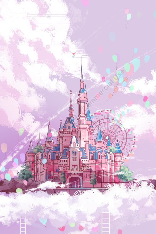 القلعة الوردي بالون سلم, رسمت باليد, عجلة فيريس, قلعة جوية llustration image