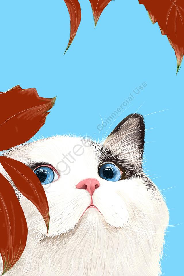Gato Animal Adorável Animal De Estimação Bonito, Pintado A Mão, Azul, Gato llustration image