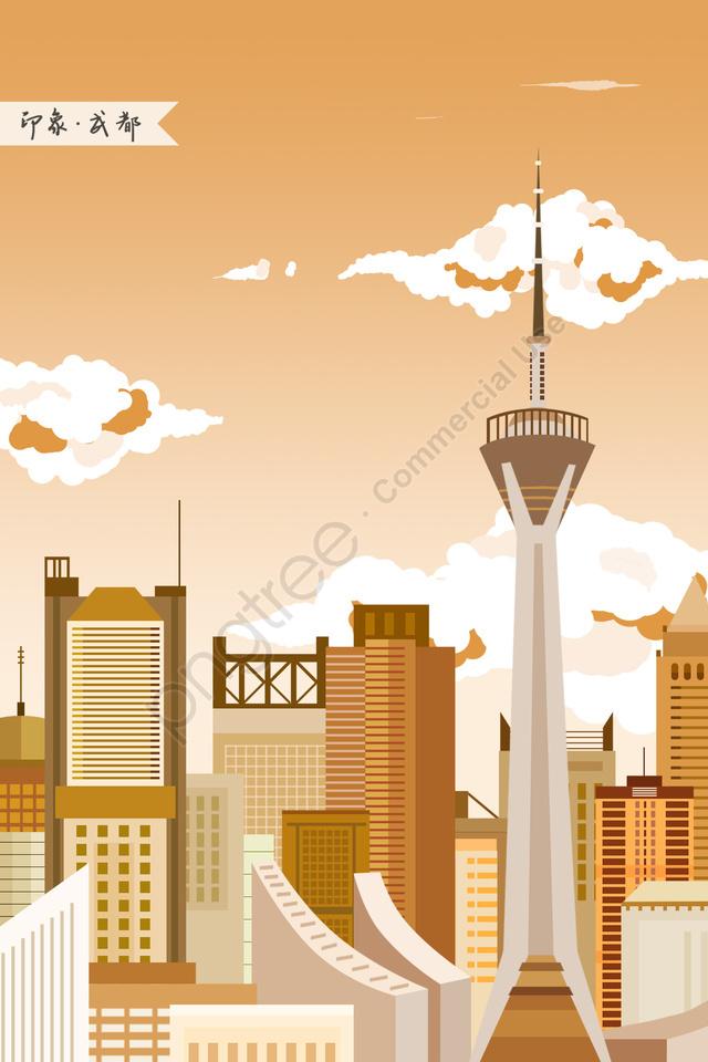 Chengdu Chengdu Tv Tower Impression Landmark Building, Landmarks, City Illustration, Skyline llustration image