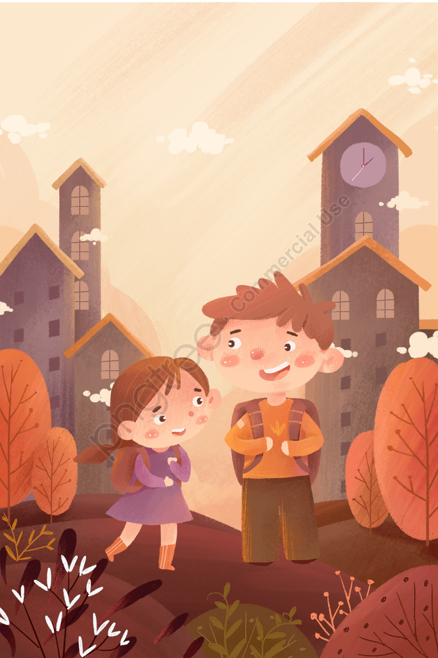 Child Cartoon School Season Poster, Illustration, School Bag, Children Go To School llustration image