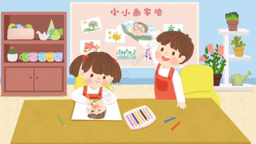 子ども教育幼稚園子どもが学ぶ, 図面, 絵画, キャンパス llustration image