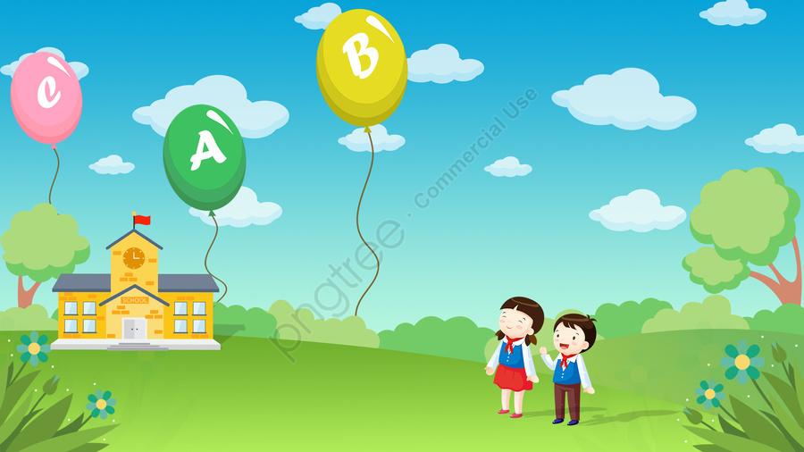 児童教育文字バルーンを認識する, 学校, 空, 白い雲 llustration image