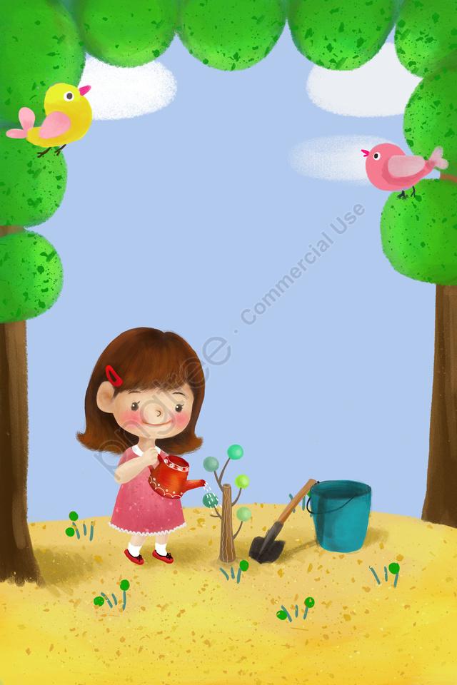 子供のイラストは、木の背景を植える, 幼稚園, 手塗り, 幼い子供 llustration image