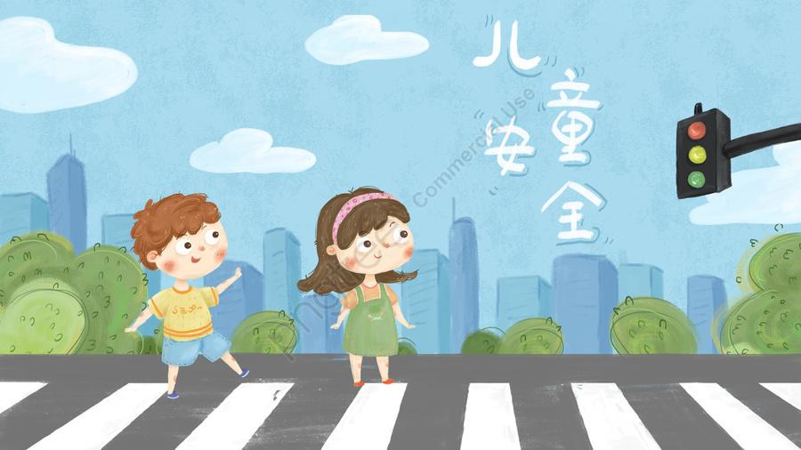 child traffic safety city, こども, 交通, 安全性 llustration image