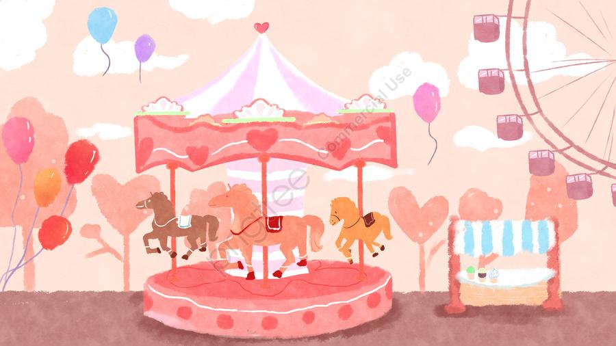 子供っぽい子供遊園地カルーセル, ロマンチック, 観覧車, 遊び llustration image