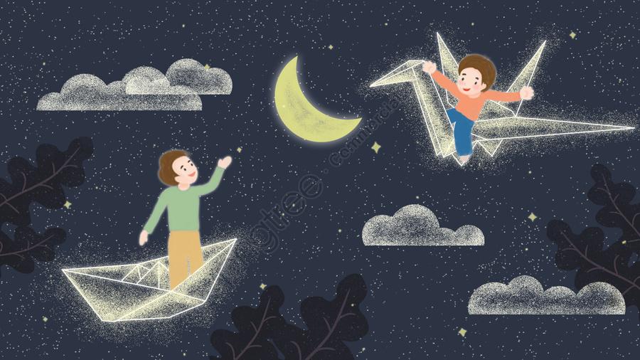 子供の日子供千巻鶴紙の舟, 夢, ムーン, スター llustration image