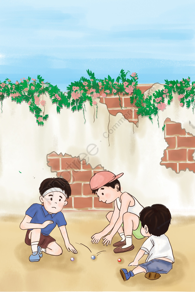 子供の日子供の頃子供の頃の記憶子供たちが遊んで, 弾むガラス玉, ビー玉をする, 少年 llustration image