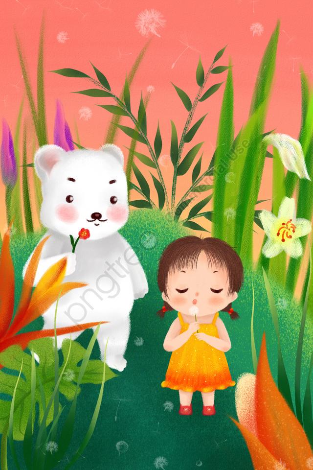 Trẻ Em Ngày Bé Gái Cực Gấu Tay Vẽ Minh Họa, Bãi Cỏ, Hoa, Cây llustration image