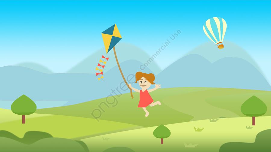 子供の日屋外遊び木, 草原, 青空, 白い雲 llustration image