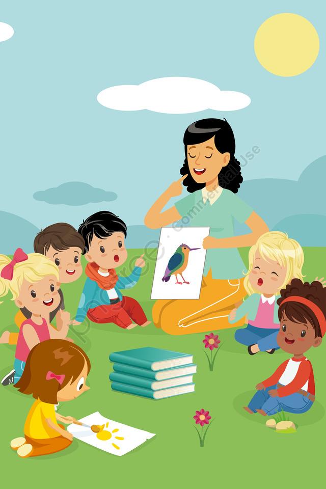 Minh Họa Trẻ Em Minh Họa Giáo Dục Minh Họa Cuốn Sách Giáo Dục, Đọc Sách., Học, Minh Họa ấm áp llustration image