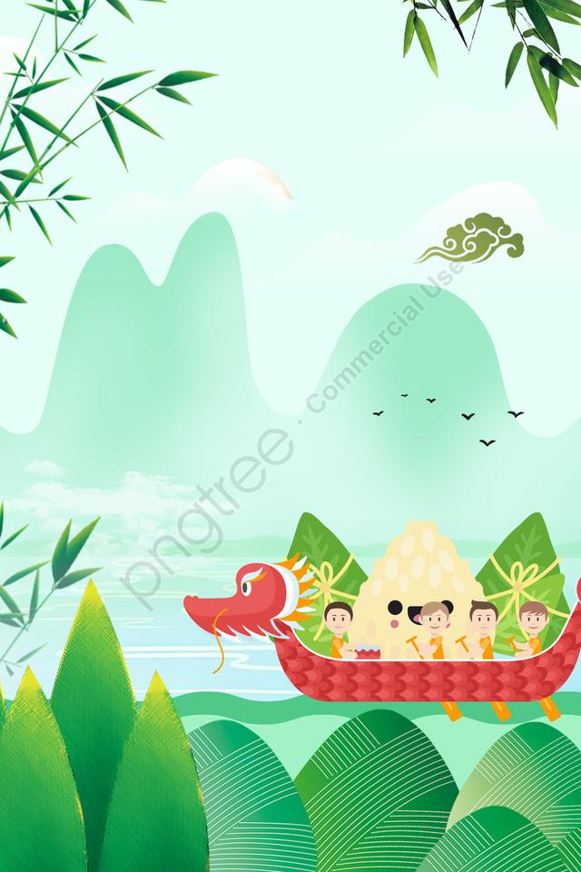 中國式綠色湖面龍舟節, 龍舟, 海報, 枇杷葉 llustration image
