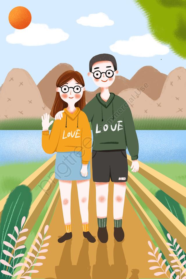 中国のバレンタインデーバレンタインの日予約ロマンチック, カップル, スエットシャツ, 人物 llustration image