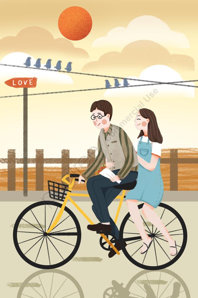 中国のバレンタインデーバレンタインデーカップルロマンチックなデート, 太陽, 白い雲, リトルバード llustration image