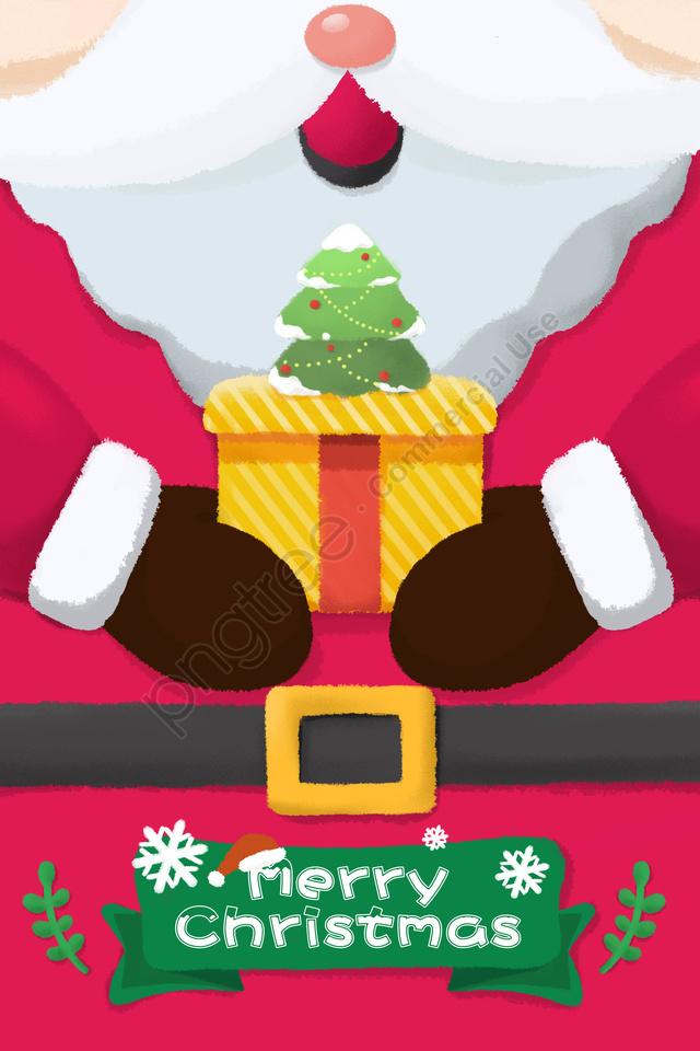 بطاقة عيد الميلاد عيد الميلاد سانتا كلوز, عقد هبة, عيد ميلاد سعيد, عيد الميلاد llustration image
