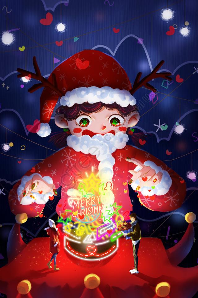 クリスマスクリスマス子供イラストクリスマスツリー, カップル, 花を送る, 告白 llustration image
