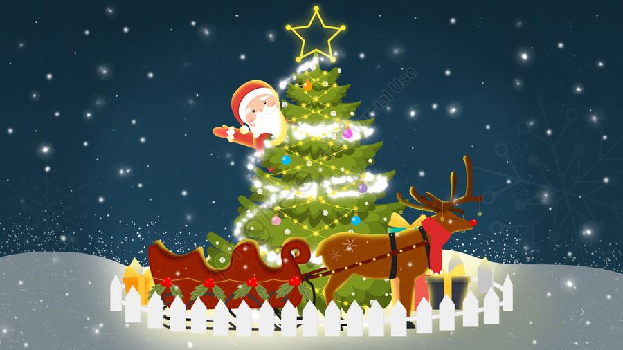 عيد الميلاد عيد الميلاد شجرة عيد الميلاد هدية, سياج, سانتا كلوز, الغزلان llustration image