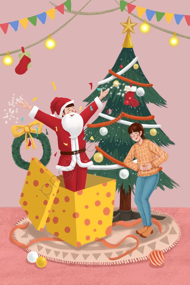 クリスマスクリスマスクリスマスツリー緑の植物, 植物, カップル, 驚き llustration image