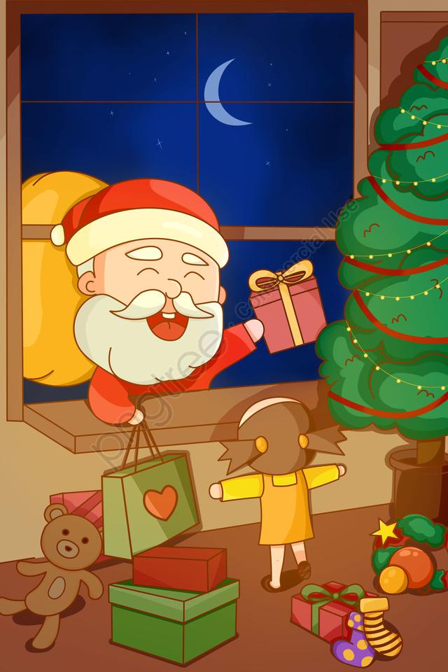 عيد الميلاد عيد الميلاد سانتا كلوز عيد الميلاد سانتا, إرسال هدية, الأطفال, شجرة عيد الميلاد llustration image