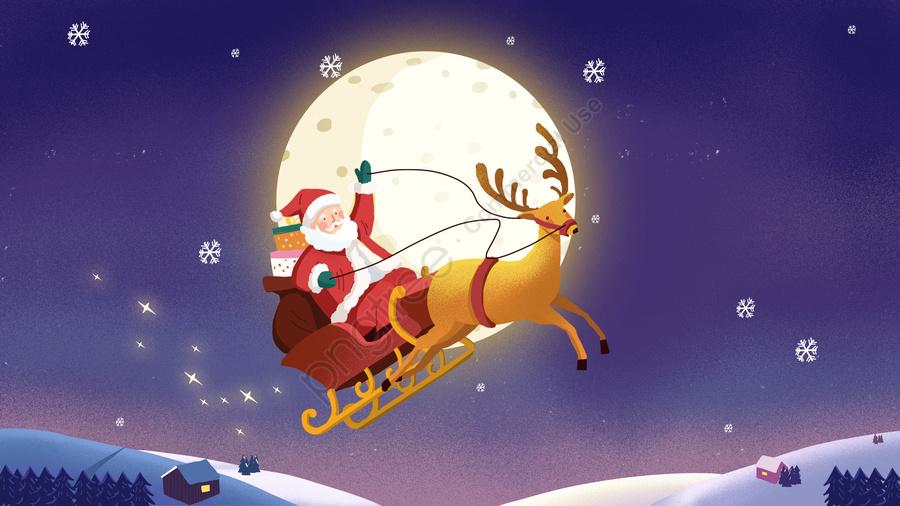 عيد الميلاد عيد الميلاد سانتا كلوز إلك, مشهد الثلج, الشتاء, منظر ليلي llustration image