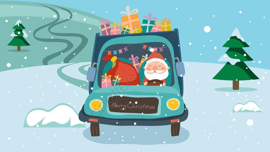 عيد الميلاد عيد الميلاد سانتا كلوز هدية, شاحنة, ندفة الثلج, الشتاء llustration image