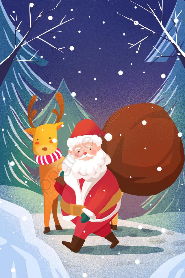 عيد الميلاد عيد الميلاد سانتا كلوز الرنة, الشتاء, يوم ثلجي, رسمت باليد llustration image