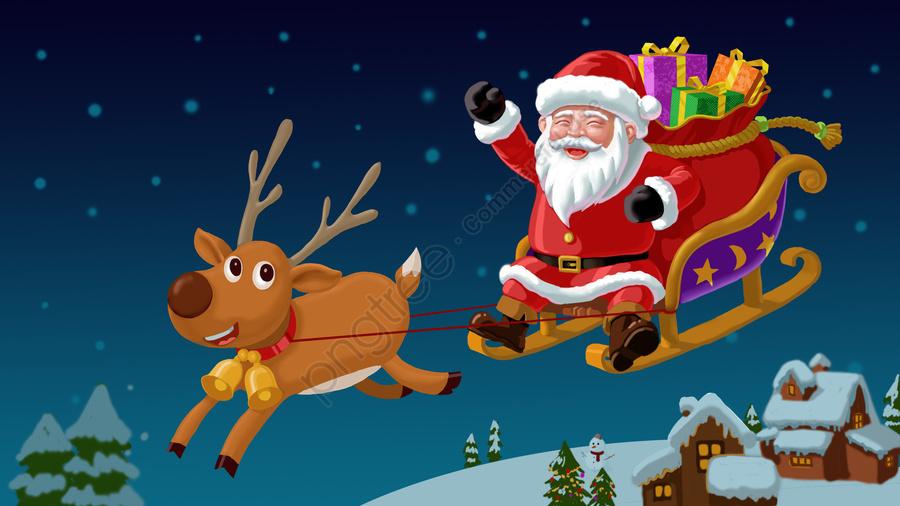 عيد الميلاد عيد الميلاد سانتا كلوز الثلج, القمر, فل مون, بيت صغير llustration image