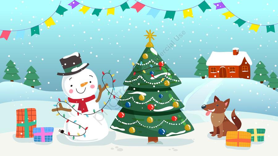 عيد الميلاد هدية عيد الميلاد ثلج, شجرة عيد الميلاد, الكلب, المقصورة llustration image