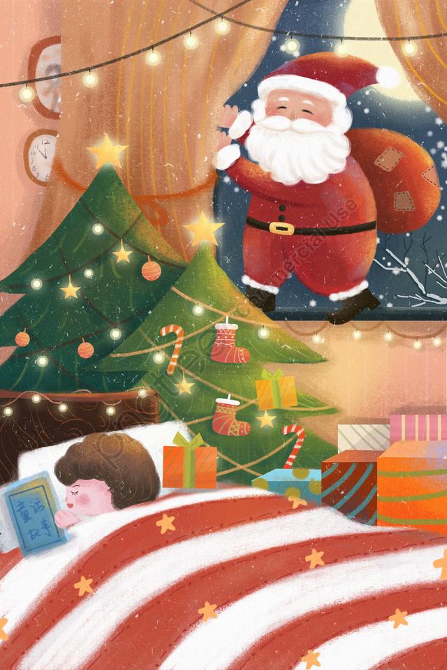 クリスマスメリークリスマスサンタクロース子供, 少年, 読書, 夢 llustration image