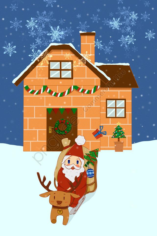 عيد الميلاد سانتا كلوز الأيائل إرسال هدية, الثلج يتساقط, ندفة الثلج, منزل llustration image