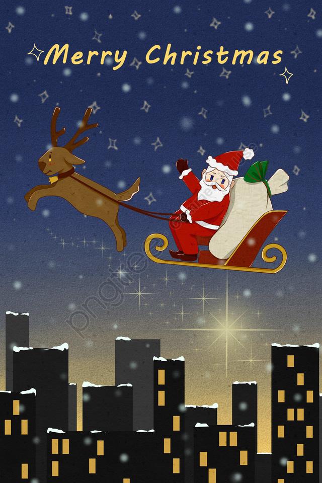 عيد الميلاد سانتا كلوز إرسال هدية الأيائل, مدينة, ليلة السماء, ستار llustration image