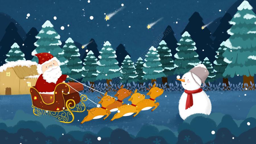 عيد الميلاد سانتا كلوز ثلج الأيائل, أزرق, كرتون, عيد الميلاد llustration image