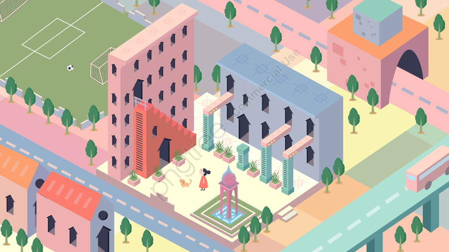 City Building Life Girl, Bridge, Monument Valley, Hand Painted llustration image
